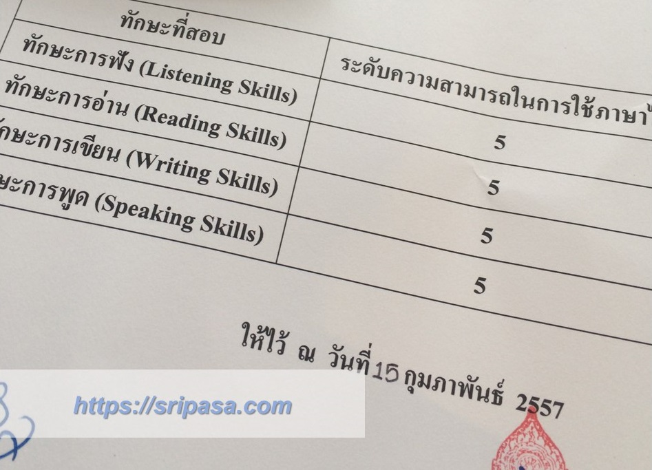2013年Thai Competency Test(旧ポーホック)試験結果