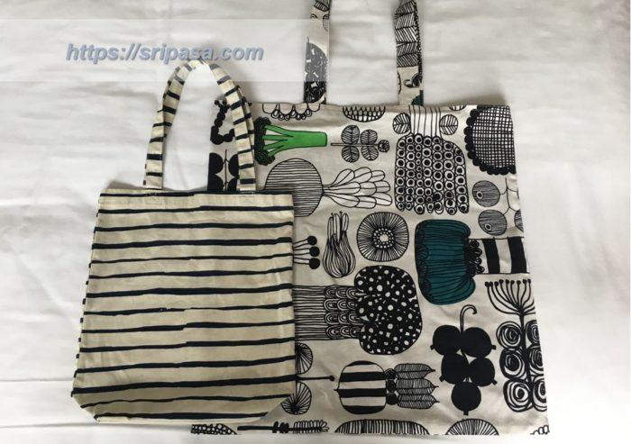 大きな荷物に欠かせないエコバッグ(写真右)と、ホテル内の滞在時(朝食など)にちょうど良いサイズのバッグ