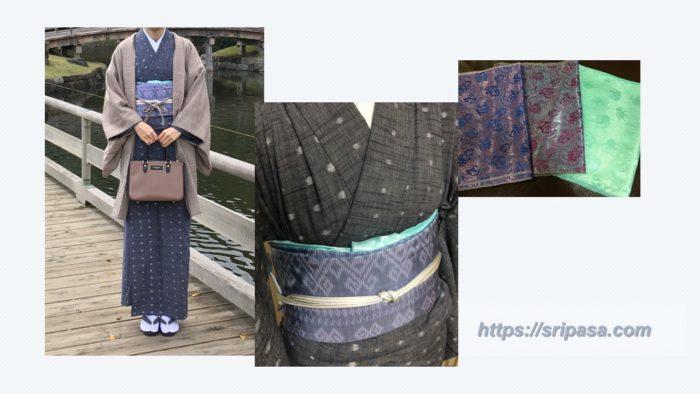 バンコクで買える『タイ旅行のおすすめお土産』タイシルクストールを帯揚げとして使用した写真