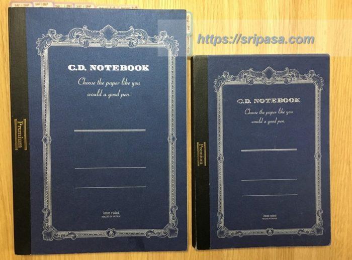 アピカ プレミアムCDノート「C.D.NOTEBOOK」B5横罫(左)とA5横罫(右)
