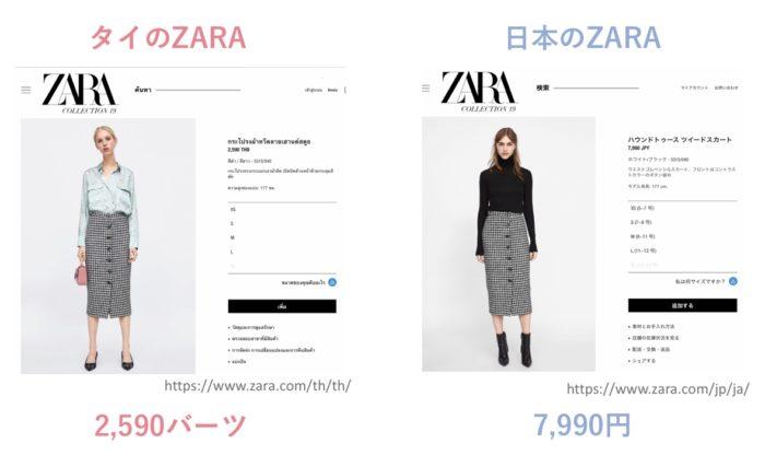 タイと日本のZARAの価格を比較(ツイードスカート)