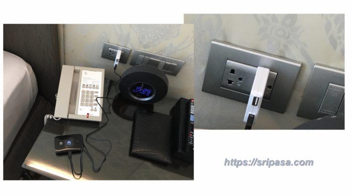 WiFiルーターの充電(バンコクのホテルにて)