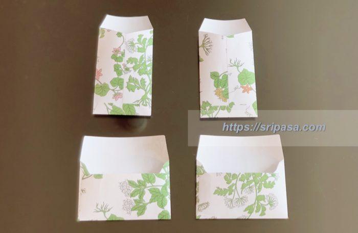 「コマパット/Khomapastr」で購入した包装紙で作ったポチ袋とミニ封筒