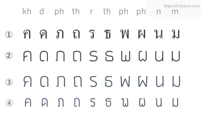 タイ語 フォント 違い