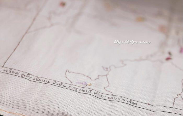 タイ地図刺繍 枠 タイ文字