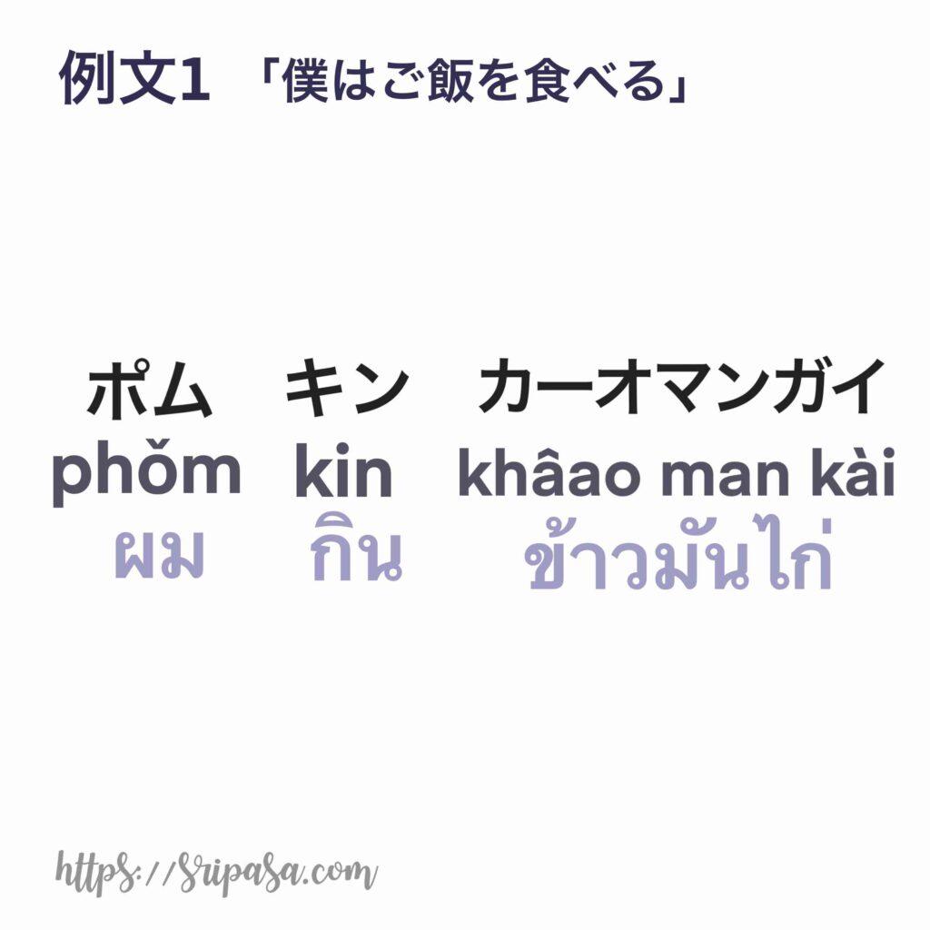 「僕はカオマンガイを食べる」のタイ語