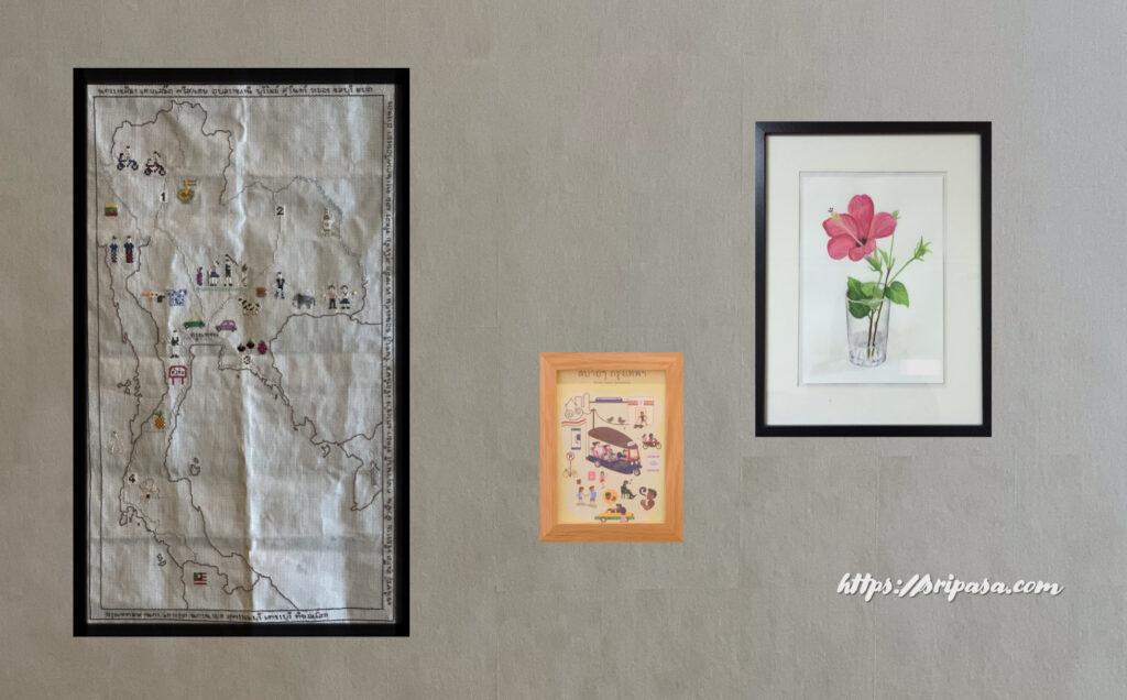 タイ地図刺繍(額装して飾ったイメージ)