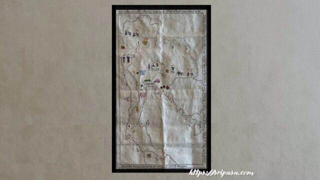 タイ地図刺繍(額装したイメージ)